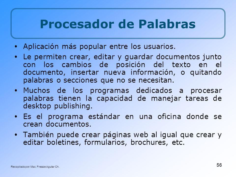 Recopilado por: Msc. Fressie Aguilar Ch. 56 Procesador de Palabras Aplicación más popular entre los usuarios. Le permiten crear, editar y guardar docu