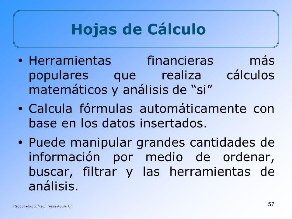 Recopilado por: Msc. Fressie Aguilar Ch. 57 Hojas de Cálculo Herramientas financieras más populares que realiza cálculos matemáticos y análisis de si