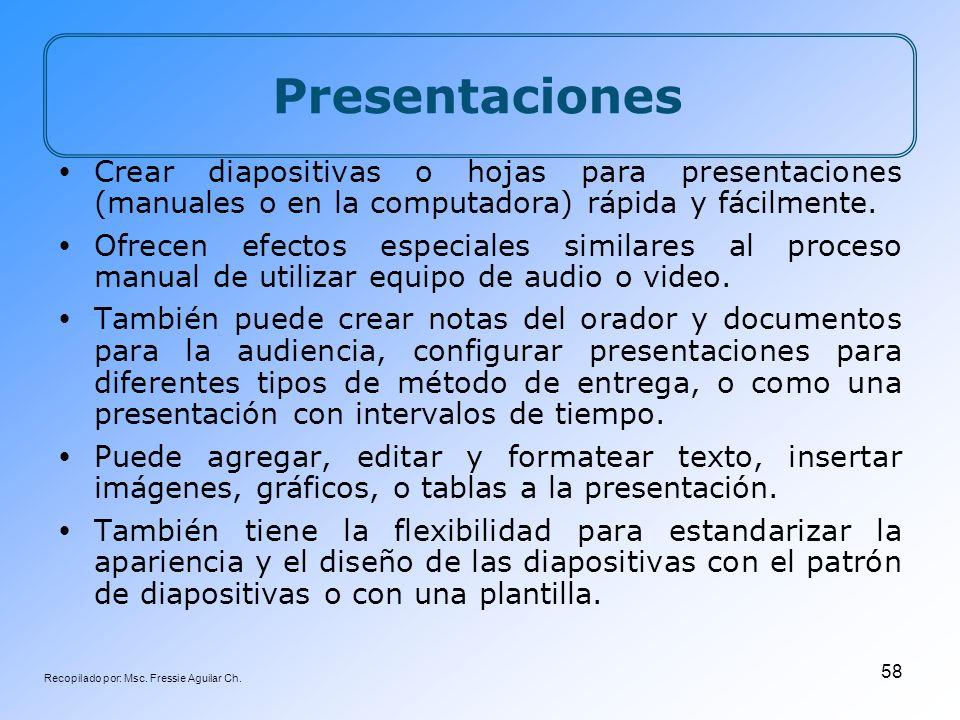 Recopilado por: Msc. Fressie Aguilar Ch. 58 Presentaciones Crear diapositivas o hojas para presentaciones (manuales o en la computadora) rápida y fáci