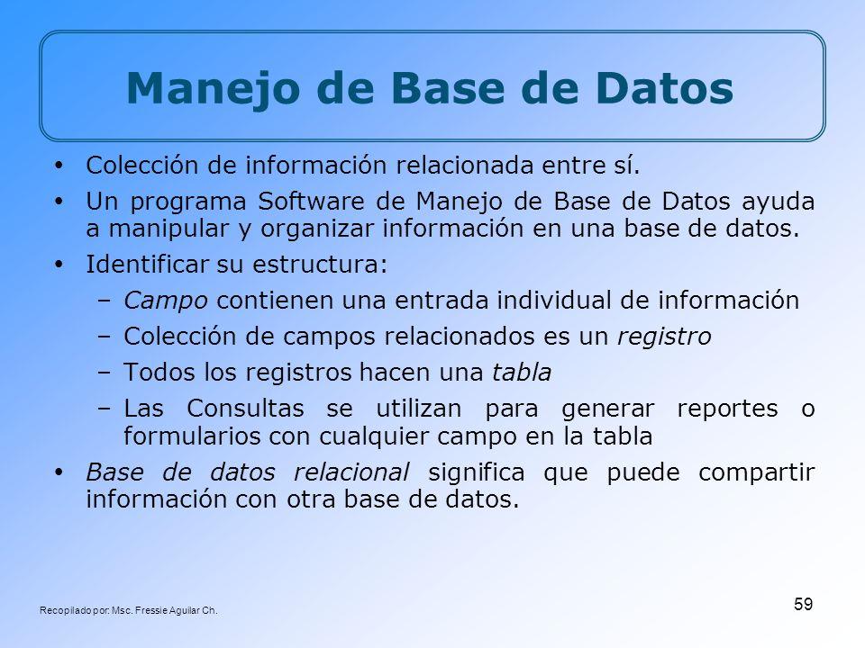 Recopilado por: Msc. Fressie Aguilar Ch. 59 Manejo de Base de Datos Colección de información relacionada entre sí. Un programa Software de Manejo de B