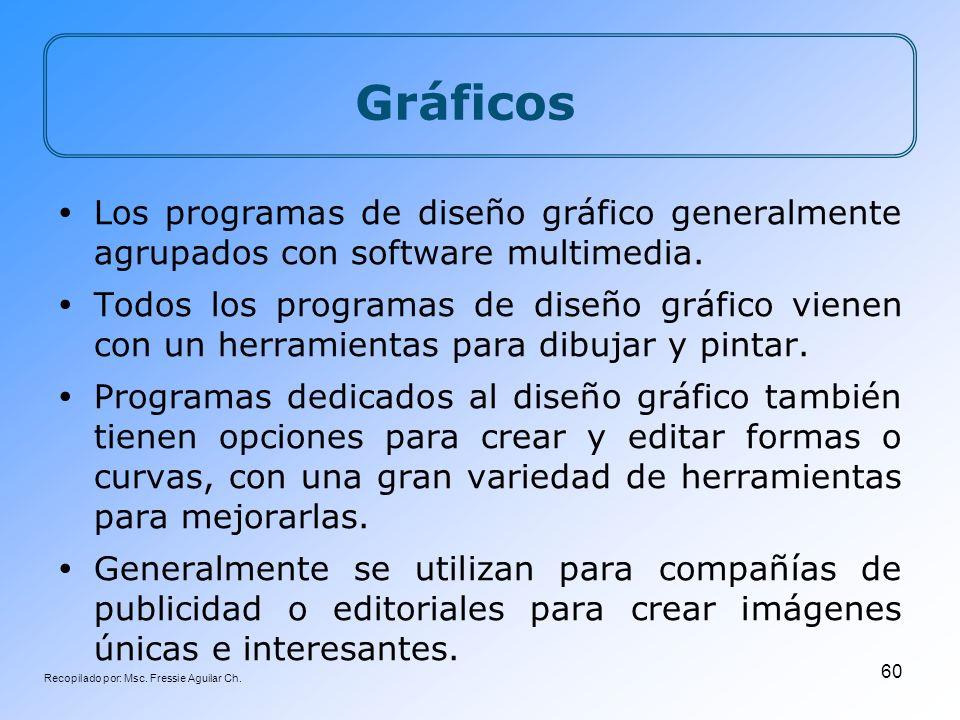 Recopilado por: Msc. Fressie Aguilar Ch. 60 Gráficos Los programas de diseño gráfico generalmente agrupados con software multimedia. Todos los program