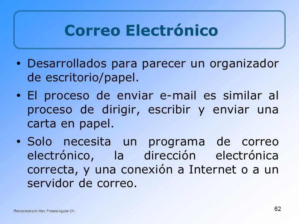 Recopilado por: Msc. Fressie Aguilar Ch. 62 Correo Electrónico Desarrollados para parecer un organizador de escritorio/papel. El proceso de enviar e-m