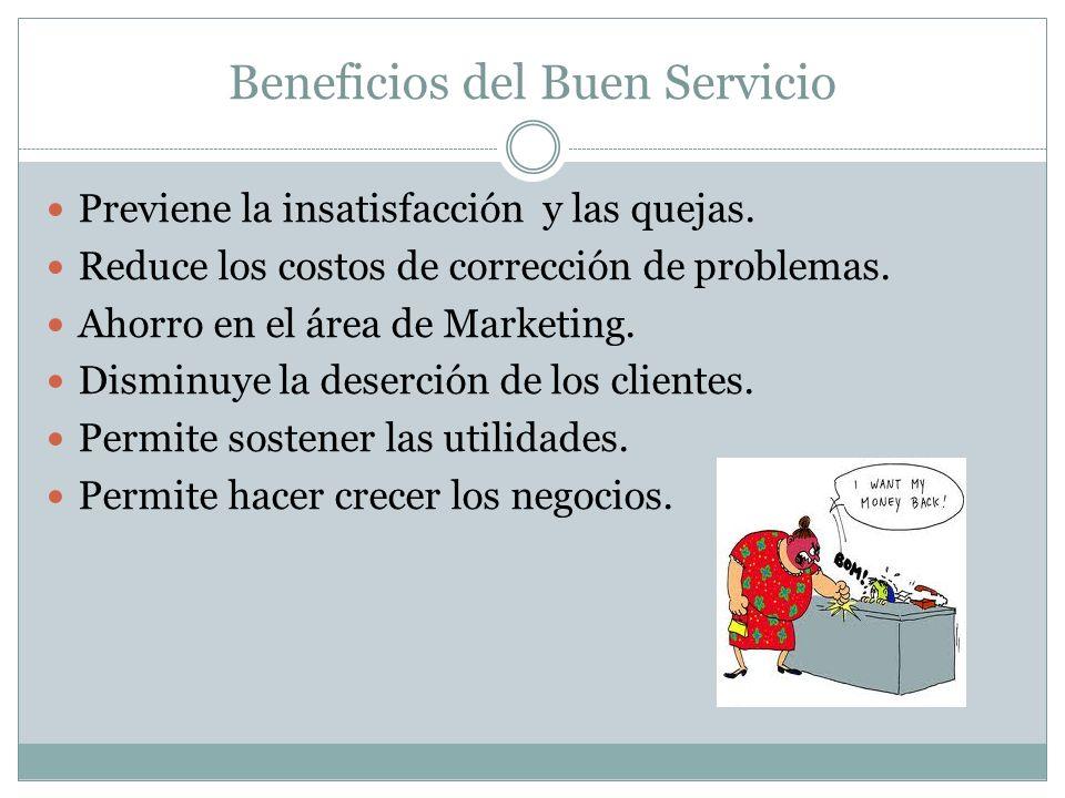 Beneficios del Buen Servicio Previene la insatisfacción y las quejas. Reduce los costos de corrección de problemas. Ahorro en el área de Marketing. Di