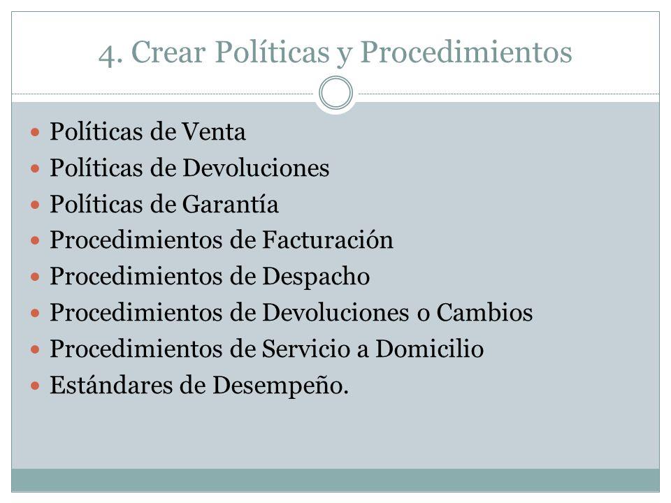 4. Crear Políticas y Procedimientos Políticas de Venta Políticas de Devoluciones Políticas de Garantía Procedimientos de Facturación Procedimientos de
