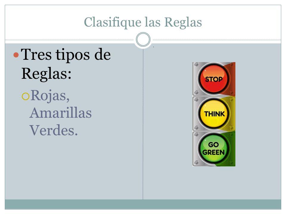 Clasifique las Reglas Tres tipos de Reglas: Rojas, Amarillas Verdes..