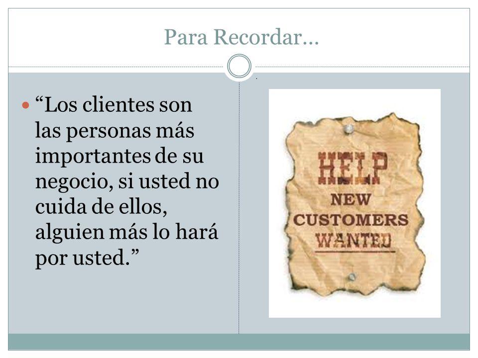 Para Recordar… Los clientes son las personas más importantes de su negocio, si usted no cuida de ellos, alguien más lo hará por usted..