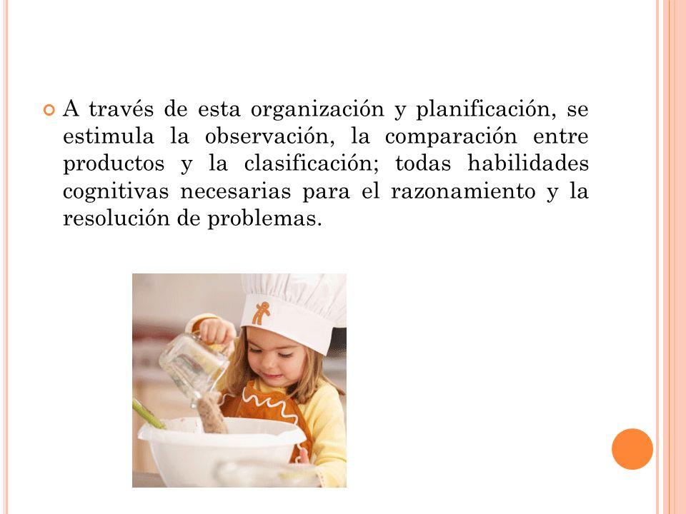 A través de esta organización y planificación, se estimula la observación, la comparación entre productos y la clasificación; todas habilidades cognit