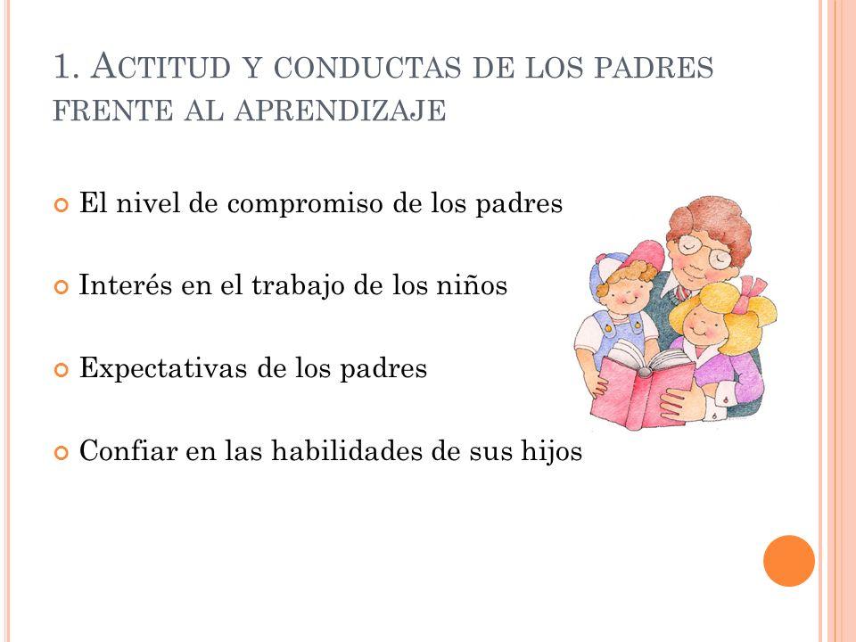 1. A CTITUD Y CONDUCTAS DE LOS PADRES FRENTE AL APRENDIZAJE El nivel de compromiso de los padres Interés en el trabajo de los niños Expectativas de lo