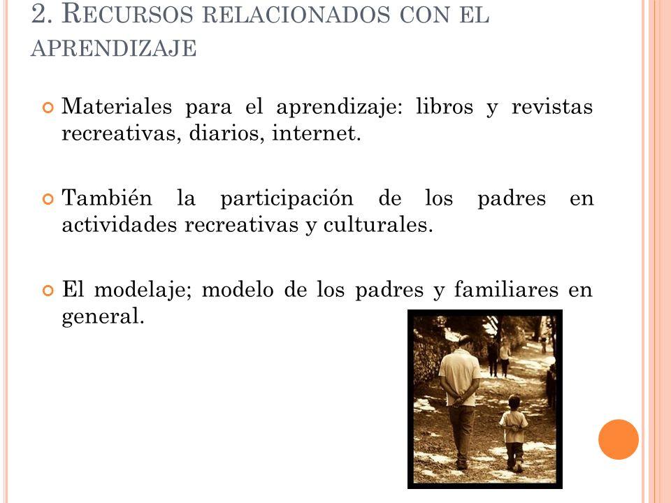2. R ECURSOS RELACIONADOS CON EL APRENDIZAJE Materiales para el aprendizaje: libros y revistas recreativas, diarios, internet. También la participació