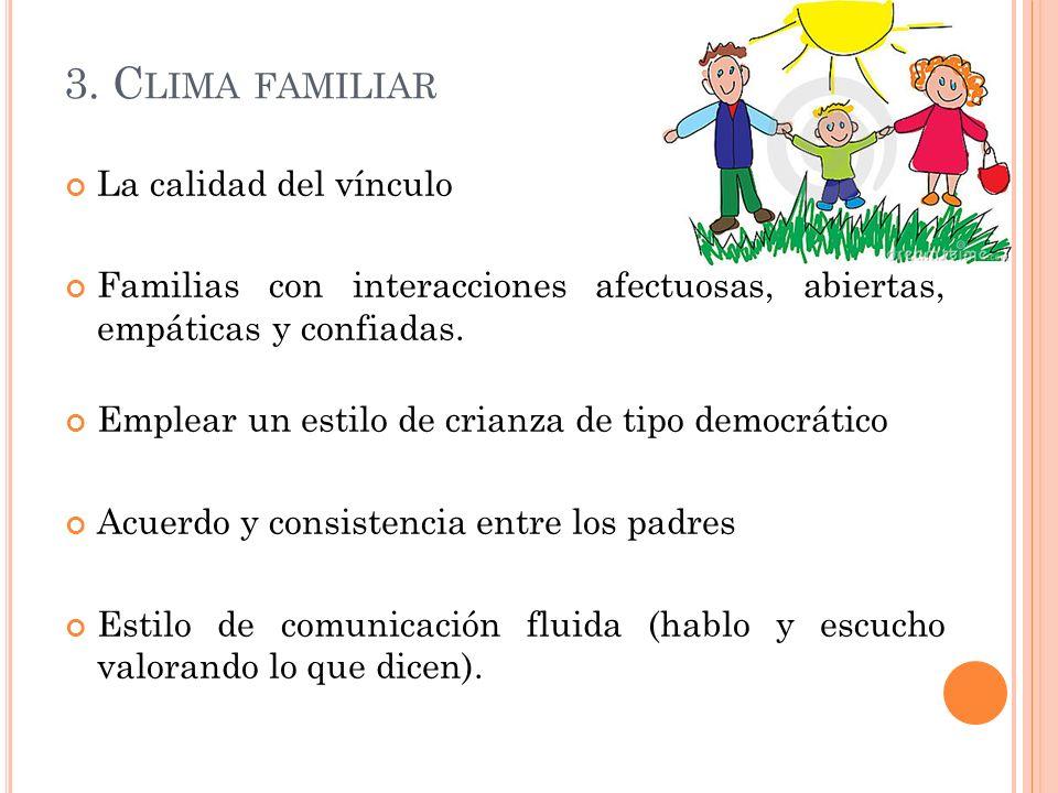3. C LIMA FAMILIAR La calidad del vínculo Familias con interacciones afectuosas, abiertas, empáticas y confiadas. Emplear un estilo de crianza de tipo
