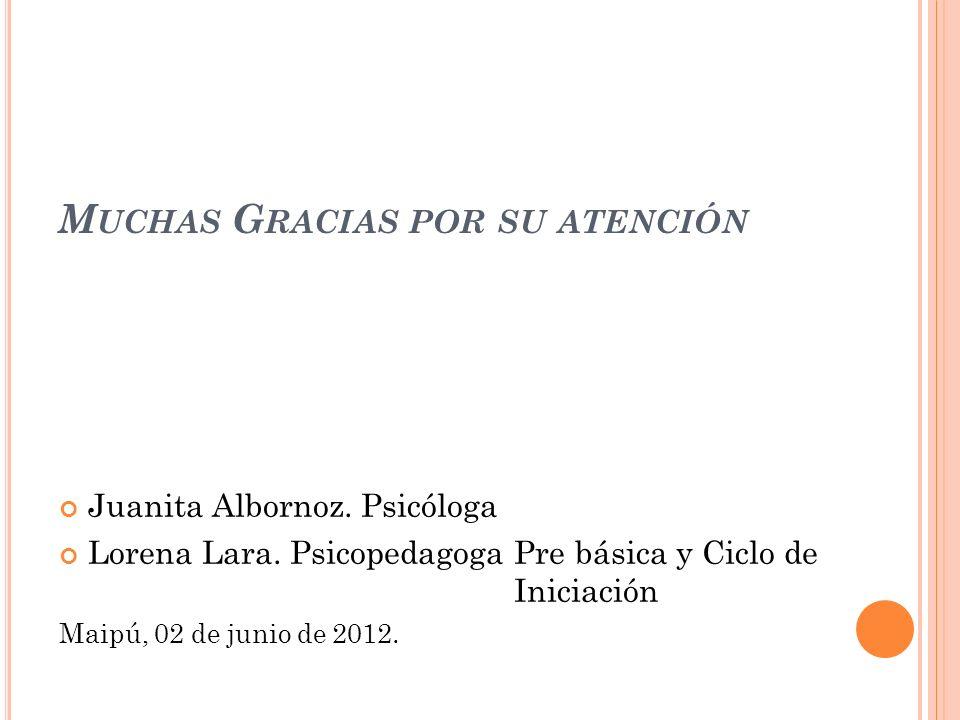 M UCHAS G RACIAS POR SU ATENCIÓN Juanita Albornoz. Psicóloga Lorena Lara. Psicopedagoga Pre básica y Ciclo de Iniciación Maipú, 02 de junio de 2012.
