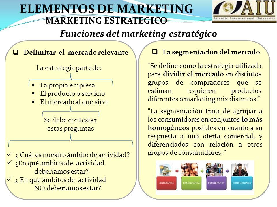 ELEMENTOS DE MARKETING Funciones del marketing estratégico MARKETING ESTRATEGICO Delimitar el mercado relevante La propia empresa El producto o servicio El mercado al que sirve Se debe contestar estas preguntas ¿ Cuál es nuestro ámbito de actividad.