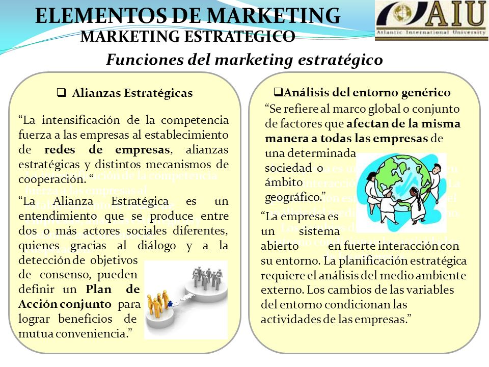 ELEMENTOS DE MARKETING Funciones del marketing estratégico MARKETING ESTRATEGICO La intensificación de la competencia fuerza a las empresas al estable