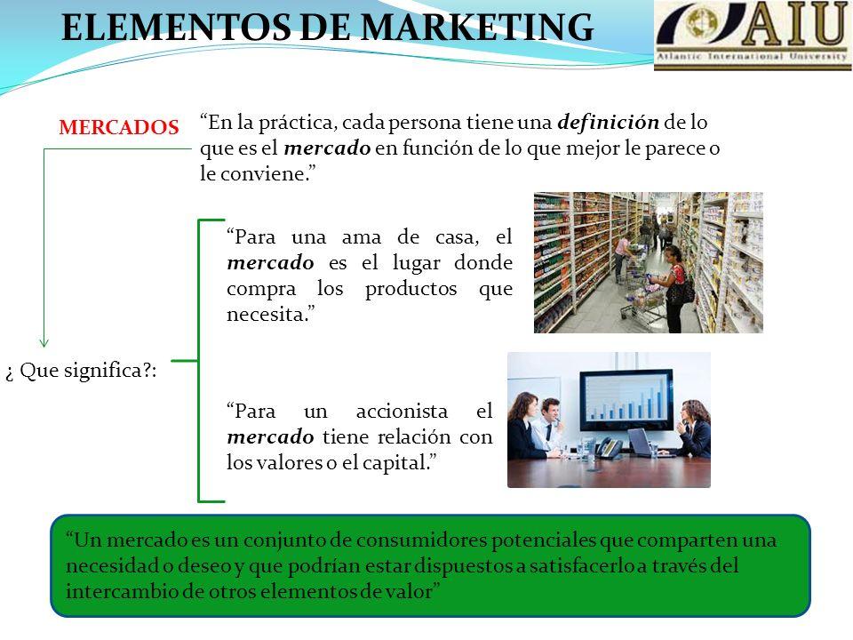 MERCADOS En la práctica, cada persona tiene una definición de lo que es el mercado en función de lo que mejor le parece o le conviene.
