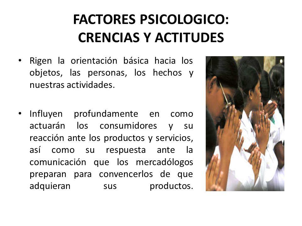 FACTORES PSICOLOGICO: CRENCIAS Y ACTITUDES Rigen la orientación básica hacia los objetos, las personas, los hechos y nuestras actividades. Influyen pr