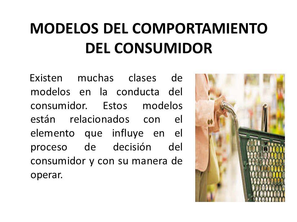 MODELOS DEL COMPORTAMIENTO DEL CONSUMIDOR Existen muchas clases de modelos en la conducta del consumidor. Estos modelos están relacionados con el elem