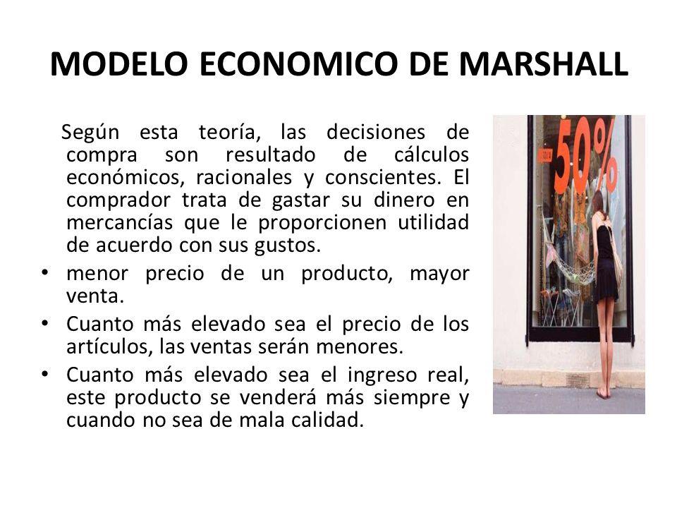 MODELO ECONOMICO DE MARSHALL Según esta teoría, las decisiones de compra son resultado de cálculos económicos, racionales y conscientes. El comprador