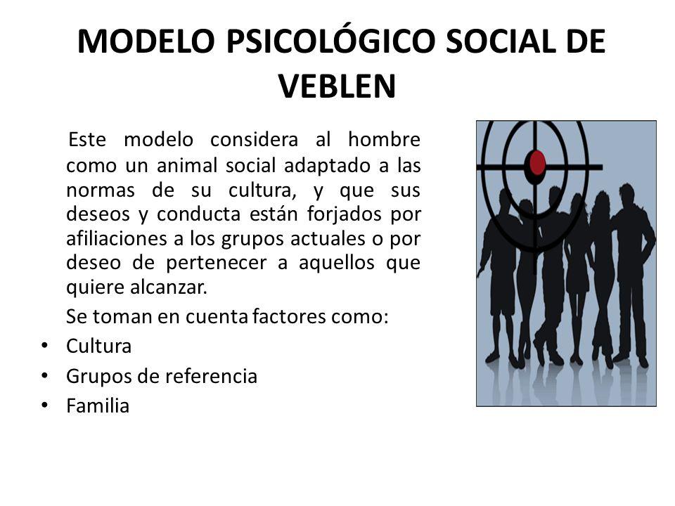 MODELO PSICOLÓGICO SOCIAL DE VEBLEN Este modelo considera al hombre como un animal social adaptado a las normas de su cultura, y que sus deseos y cond
