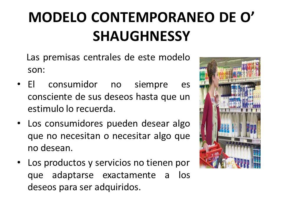 MODELO CONTEMPORANEO DE O SHAUGHNESSY Las premisas centrales de este modelo son: El consumidor no siempre es consciente de sus deseos hasta que un est