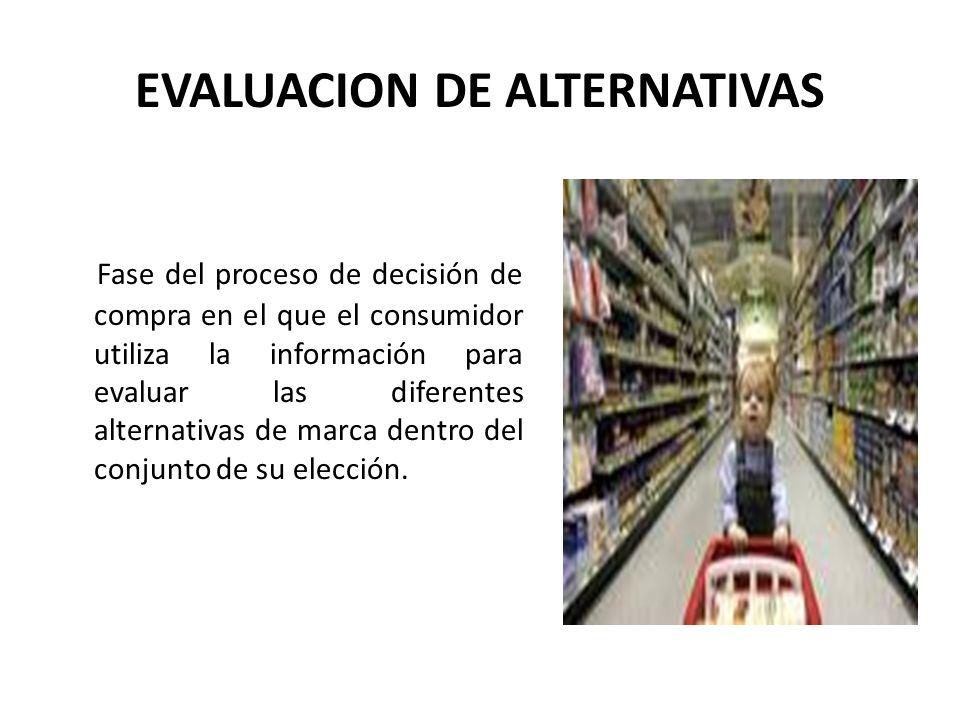 EVALUACION DE ALTERNATIVAS Fase del proceso de decisión de compra en el que el consumidor utiliza la información para evaluar las diferentes alternati