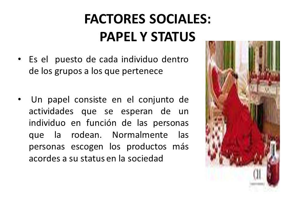 FACTORES SOCIALES: PAPEL Y STATUS Es el puesto de cada individuo dentro de los grupos a los que pertenece Un papel consiste en el conjunto de activida