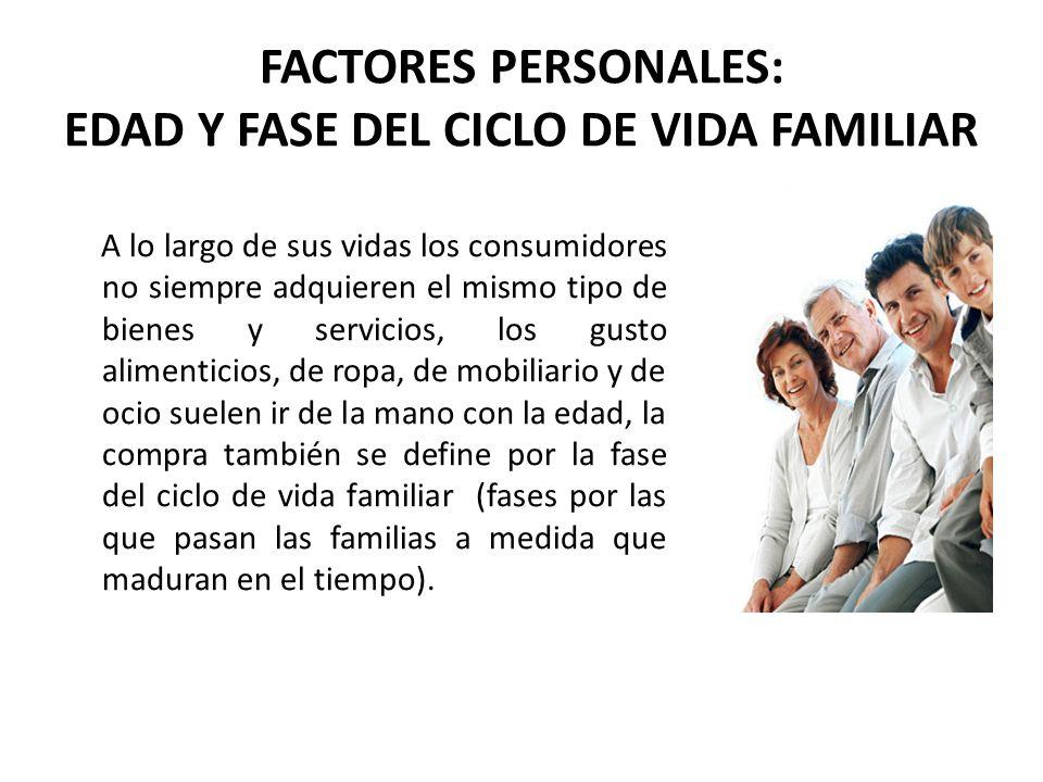 FACTORES PERSONALES: EDAD Y FASE DEL CICLO DE VIDA FAMILIAR A lo largo de sus vidas los consumidores no siempre adquieren el mismo tipo de bienes y se