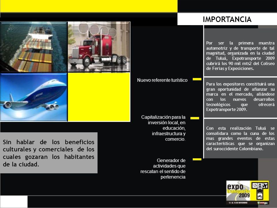 IMPORTANCIA Por ser la primera muestra automotriz y de transporte de tal magnitud, organizada en la ciudad de Tuluá, Expotransporte 2009 cubrirá los 90 mil mts2 del Coliseo de Ferias y Exposiciones.