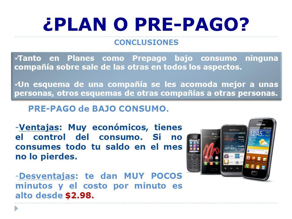 CONCLUSIONES ¿PLAN O PRE-PAGO.