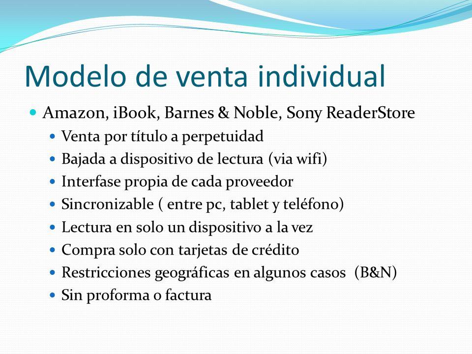 Modelo de venta individual Amazon, iBook, Barnes & Noble, Sony ReaderStore Venta por título a perpetuidad Bajada a dispositivo de lectura (via wifi) I