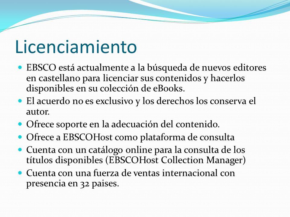 EBSCO está actualmente a la búsqueda de nuevos editores en castellano para licenciar sus contenidos y hacerlos disponibles en su colección de eBooks.
