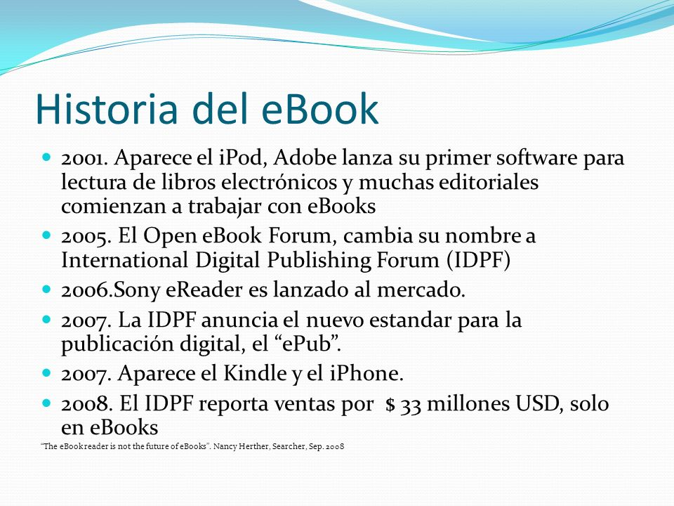Historia del eBook 2001.