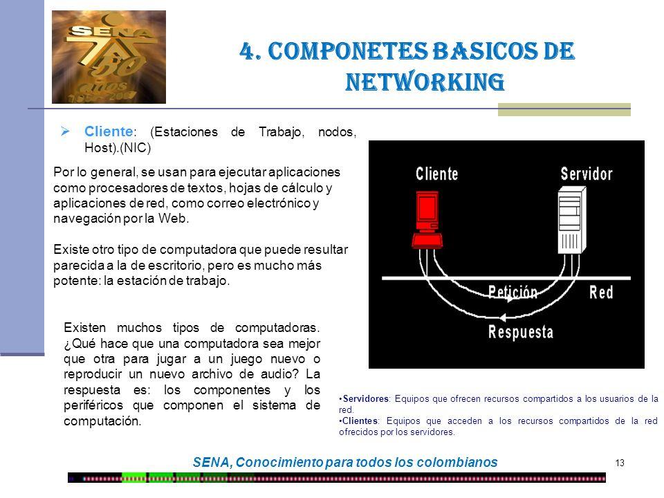 13 SENA, Conocimiento para todos los colombianos 4. COMPONETES BASICOS DE NETWORKING Servidores: Equipos que ofrecen recursos compartidos a los usuari