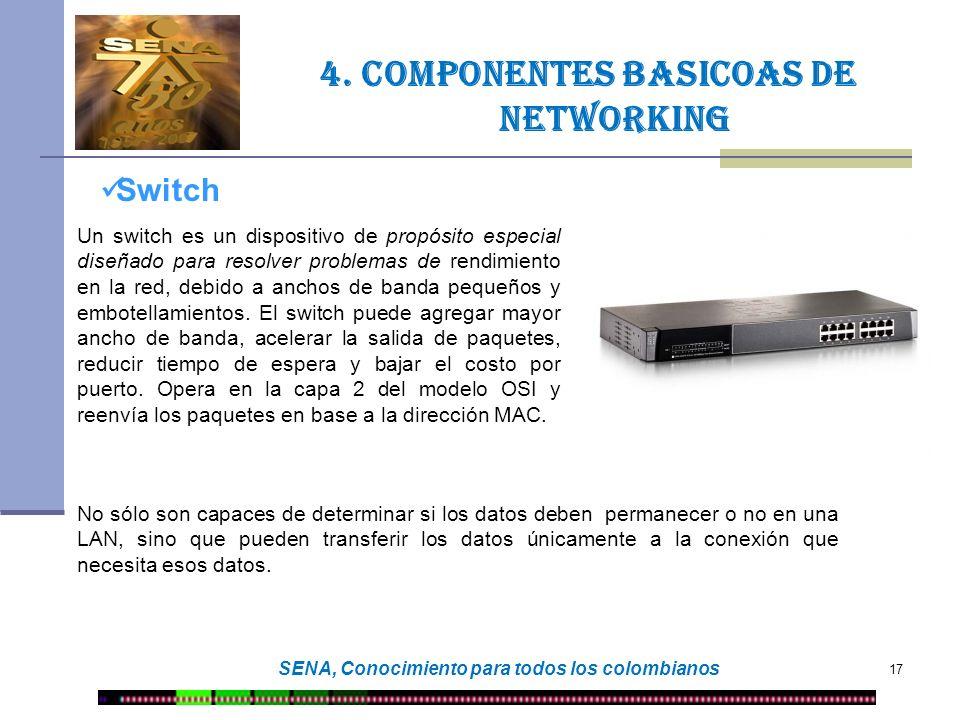 17 SENA, Conocimiento para todos los colombianos Switch Un switch es un dispositivo de propósito especial diseñado para resolver problemas de rendimie