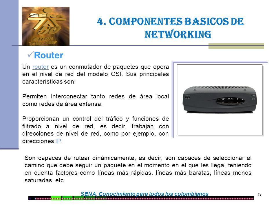 19 SENA, Conocimiento para todos los colombianos Router 4. Componentes basicos de networking Un router es un conmutador de paquetes que opera en el ni