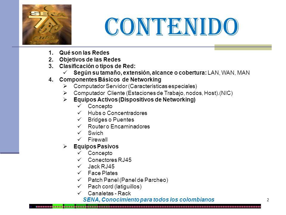 CONTENIDO 3 SENA, Conocimiento para todos los colombianos 5.Medios de transmisión (cables) Alámbricos (Guiados o Terrestres) Par Trenzado Coaxial Fibra Óptica Inalámbricos (No guiados o Aéreos) Infrarrojos Microondas Satélites Ondas de Radio Laser 6.Topologías de red Definición Tipos Anillo Estrella Malla Árbol