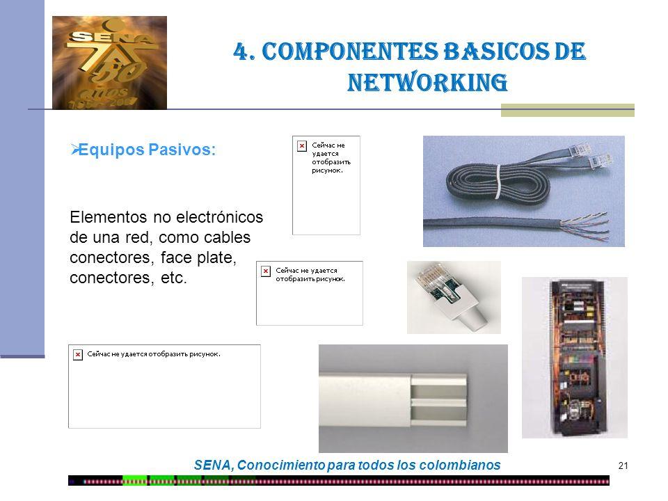 21 SENA, Conocimiento para todos los colombianos 4. Componentes basicos de networking Equipos Pasivos: Elementos no electrónicos de una red, como cabl