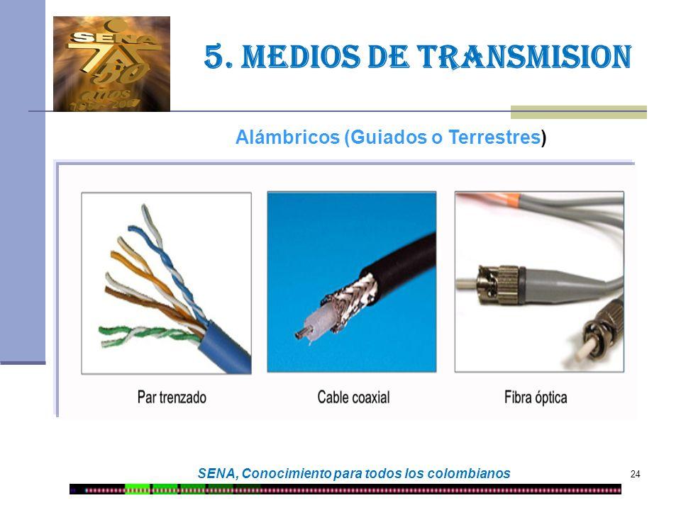 24 SENA, Conocimiento para todos los colombianos 5. Medios de transmision Alámbricos (Guiados o Terrestres)