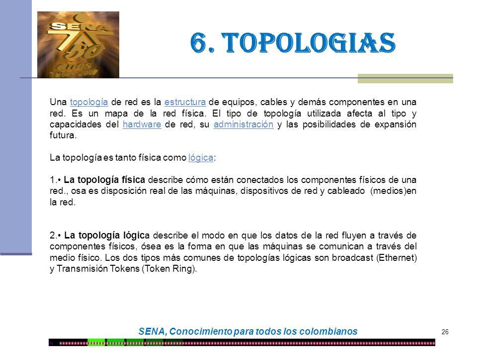 26 SENA, Conocimiento para todos los colombianos 6. TOPOLOGIAS Una topología de red es la estructura de equipos, cables y demás componentes en una red
