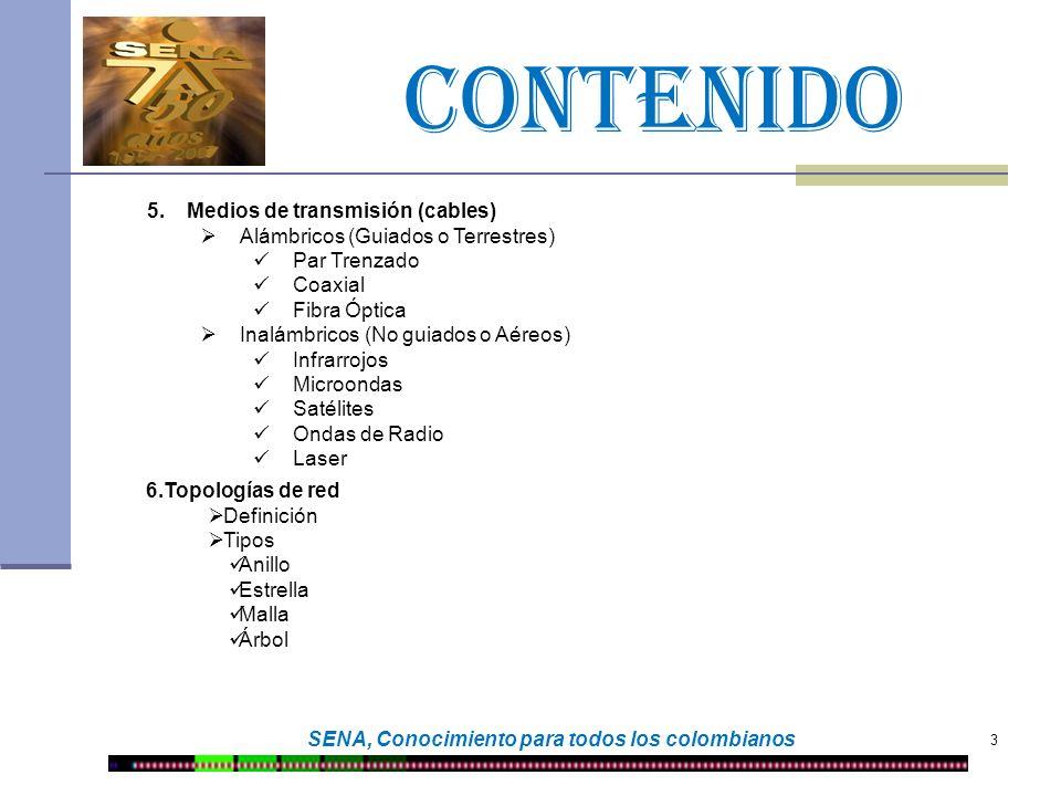CONTENIDO 3 SENA, Conocimiento para todos los colombianos 5.Medios de transmisión (cables) Alámbricos (Guiados o Terrestres) Par Trenzado Coaxial Fibr