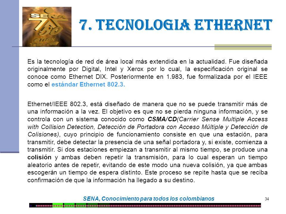 34 SENA, Conocimiento para todos los colombianos 7. Tecnologia ethernet Ethernet/IEEE 802.3, está diseñado de manera que no se puede transmitir más de