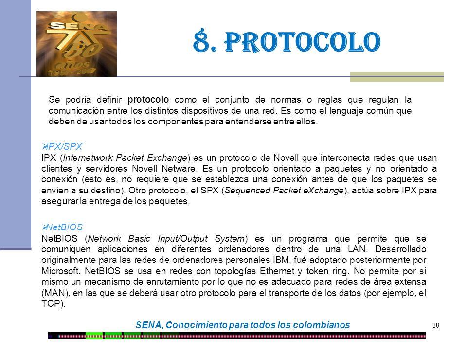 38 SENA, Conocimiento para todos los colombianos 8. protocolo Se podría definir protocolo como el conjunto de normas o reglas que regulan la comunicac