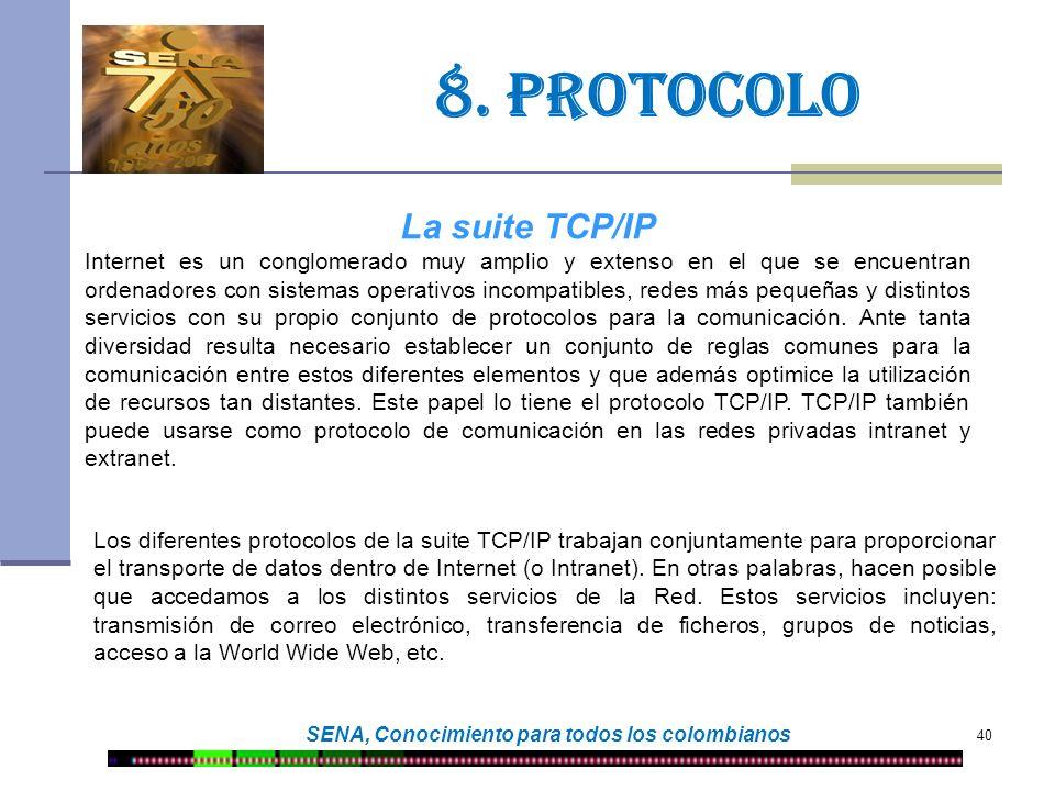 40 SENA, Conocimiento para todos los colombianos 8. protocolo La suite TCP/IP Internet es un conglomerado muy amplio y extenso en el que se encuentran