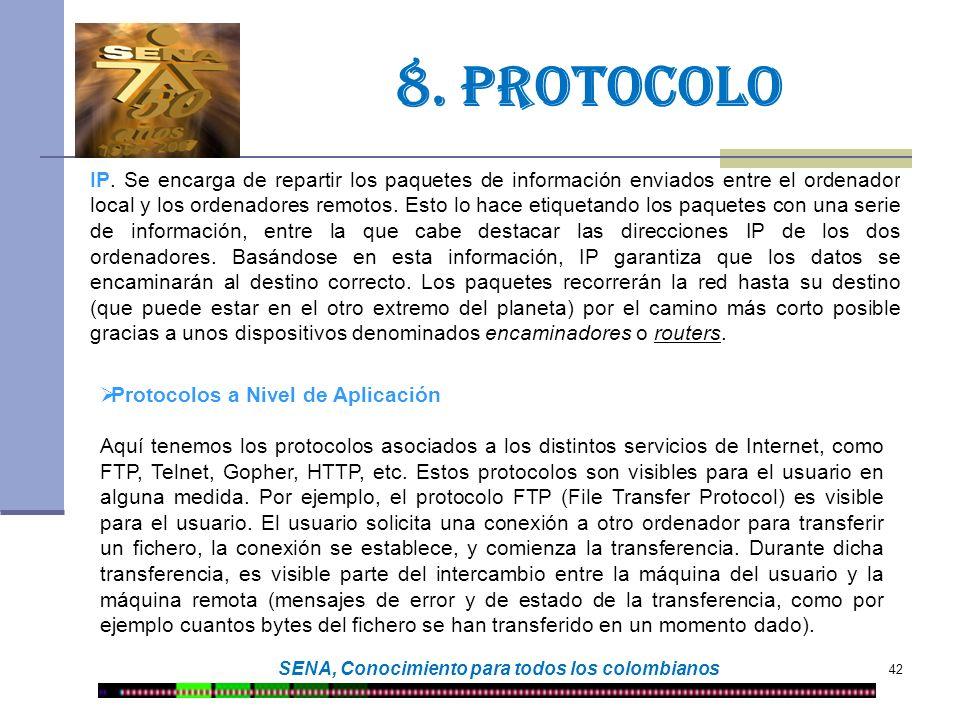 42 SENA, Conocimiento para todos los colombianos 8. protocolo IP. Se encarga de repartir los paquetes de información enviados entre el ordenador local