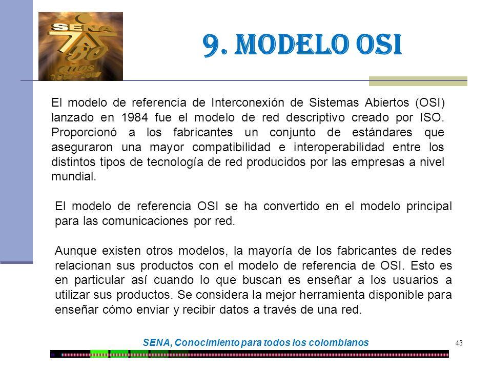 43 SENA, Conocimiento para todos los colombianos 9. Modelo osi El modelo de referencia de Interconexión de Sistemas Abiertos (OSI) lanzado en 1984 fue