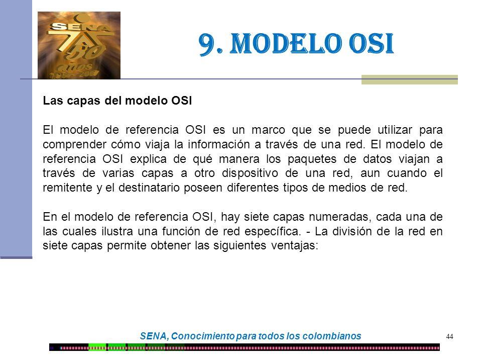 44 SENA, Conocimiento para todos los colombianos 9. Modelo osi Las capas del modelo OSI El modelo de referencia OSI es un marco que se puede utilizar