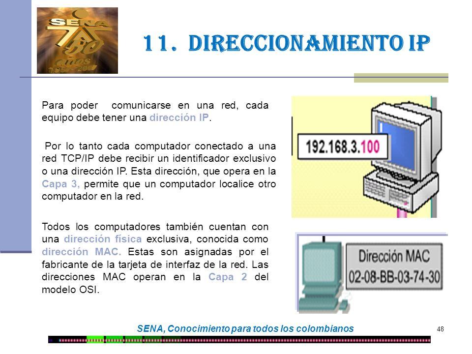 48 SENA, Conocimiento para todos los colombianos 11. DIRECCIONamiento IP Para poder comunicarse en una red, cada equipo debe tener una dirección IP. P