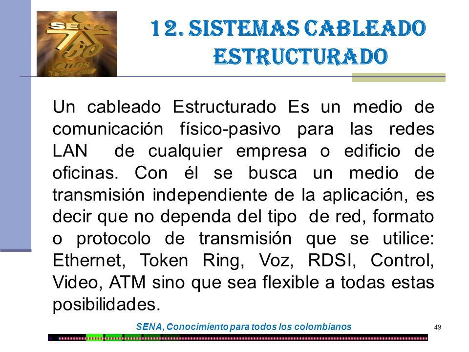 49 SENA, Conocimiento para todos los colombianos 12. Sistemas cableado estructurado Un cableado Estructurado Es un medio de comunicación físico-pasivo