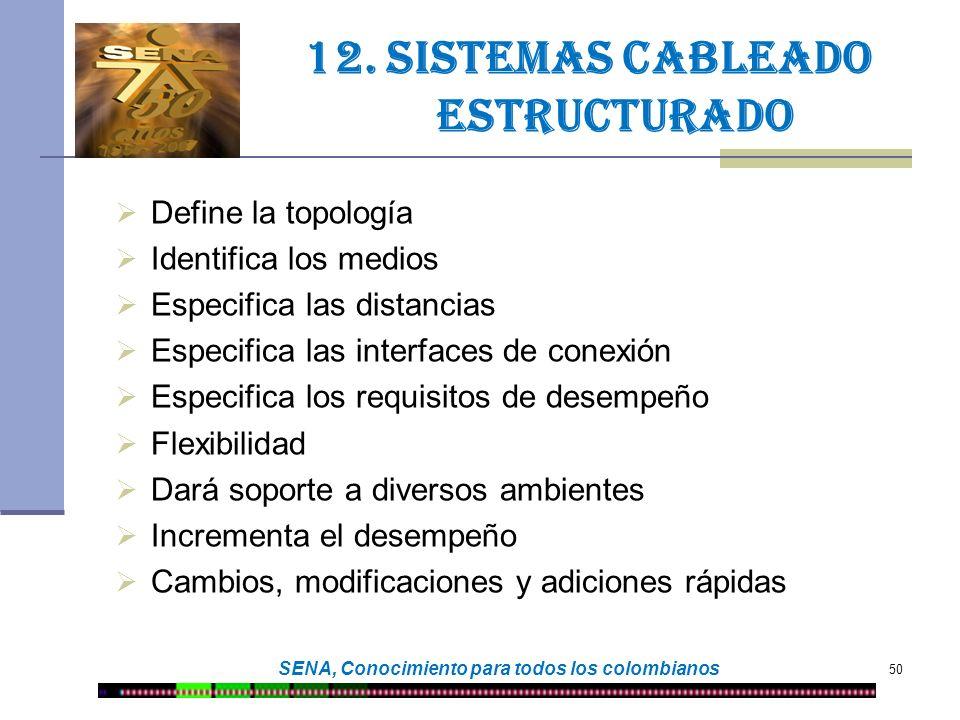 50 SENA, Conocimiento para todos los colombianos 12. Sistemas cableado estructurado Define la topología Identifica los medios Especifica las distancia