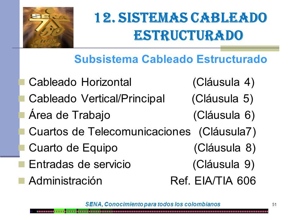 51 SENA, Conocimiento para todos los colombianos 12. Sistemas cableado estructurado Cableado Horizontal (Cláusula 4) Cableado Vertical/Principal (Cláu
