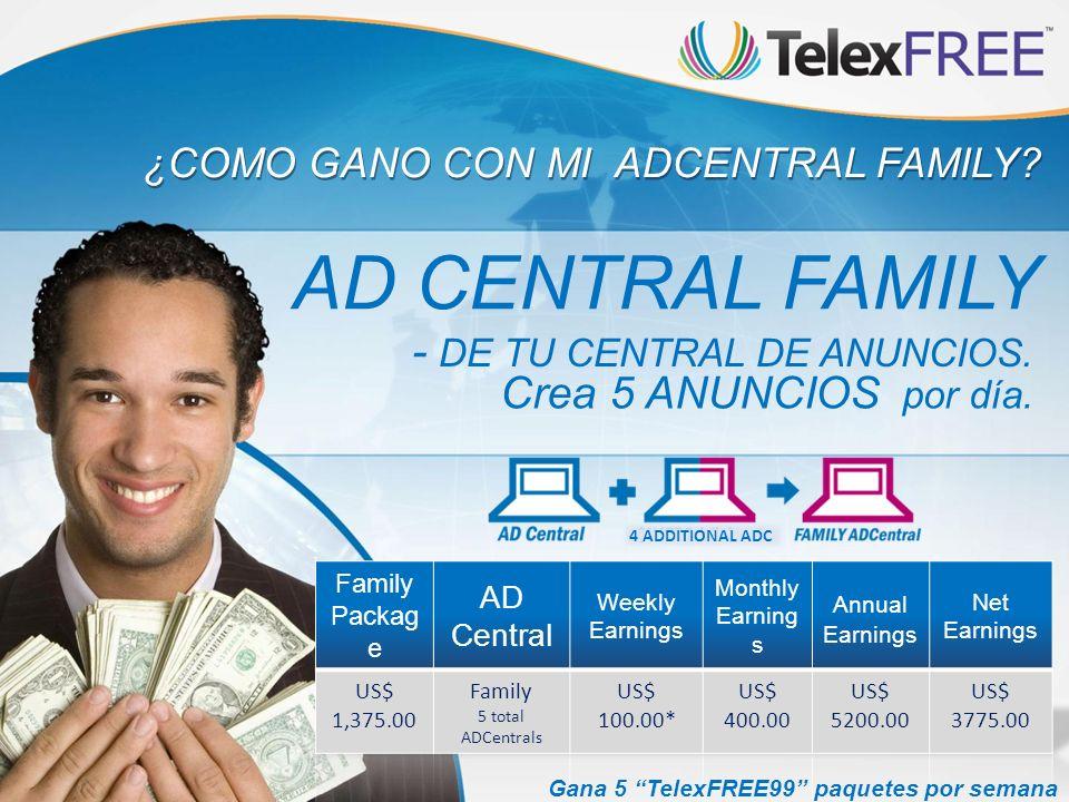 ¿COMO GANO CON MI ADCENTRAL FAMILY? AD CENTRAL FAMILY - DE TU CENTRAL DE ANUNCIOS. Crea 5 ANUNCIOS por día. Gana 5 TelexFREE99 paquetes por semana Cua